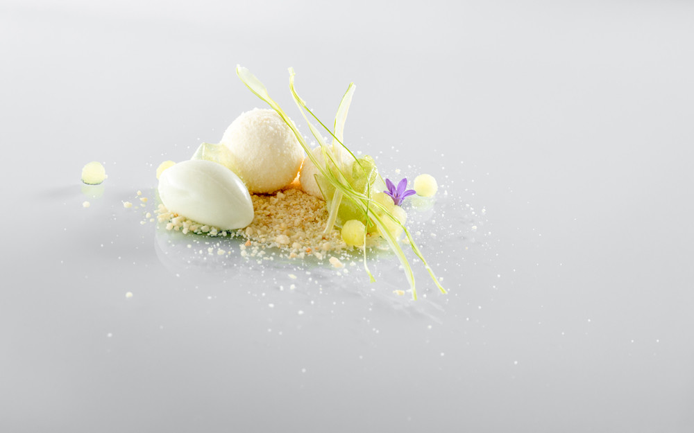 Joghurt, geránium, zöld alma