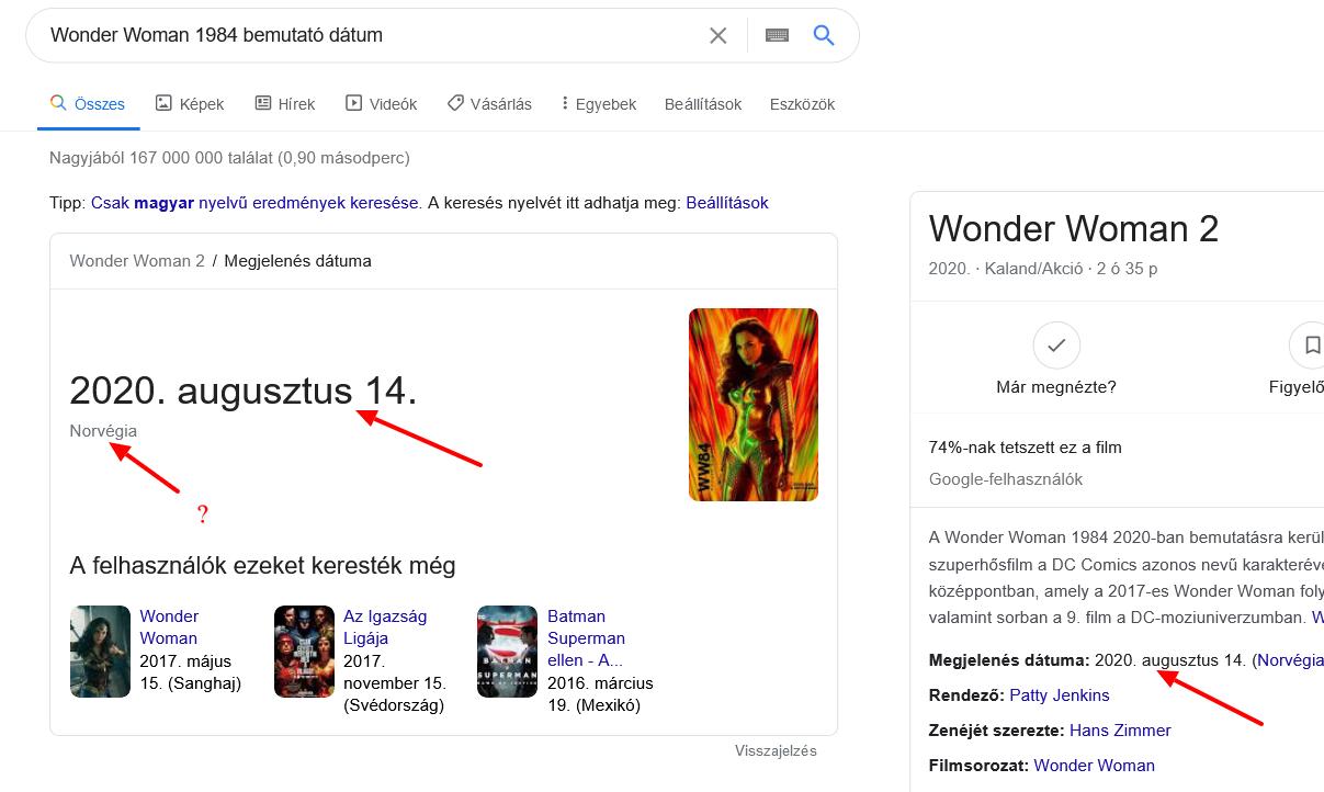 Wonder Woman 1984 bemutató dátum?