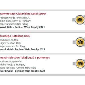 Berliner Wein Trophy 2021 magyar nyertes2 Berliner Wein Trophy 2021 magyar babérokkal zajlott le az áprilisban megrendezett német borversenyen. A rendezők nem fukarkodnak a díjakkal